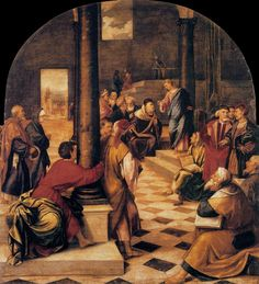 BONIFACIO VERONESE Christ among the Doctors 1544-45 Oil on canvas, 198 x 176 cm Galleria Palatina (Palazzo Pitti), Florence