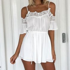 Lace Chiffon Romper - This Sexy  Vouge Fashion just sold on Wrhel.com Want to know what she paid for it? Check it out.