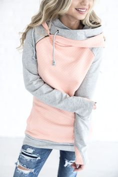 Double Hooded Sweatshirt - Quilted Peach