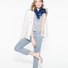 J.Crew Looks We Love: Women's double-breasted blazer, ruffle hem tank top in stripe, Point Sur railroad cargo jean, crackled leather ankle-strap high-heel sandals, and indigo batik cotton scarf.