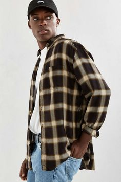 UO Plaid Rayon Butto