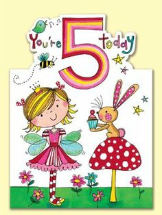 Rachel Ellen Age 5 Girl Birthday Card Amazoncouk Kitchen Home