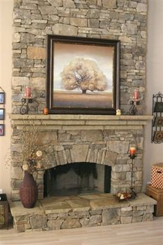 Stone needs larger pieces Fireplace Beam, Custom Fireplace, Home Fireplace, Fireplace Remodel, Fireplace Design, Reface Fireplace, Stacked Stone Fireplaces, Rustic Fireplaces, Stone Mantle