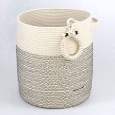 "Zen Spa and Yoga Storage Basket 11 x 13"" Woven Cotton Neutral Colors"