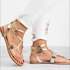 88e17d5d0fb Pure Color Straps Thong Ankle Strap Women Flat Beach Sandals – Oh Yours  Fashion