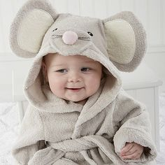 Baby Aspen Squeaky Clean Mouse Hooded Spa Bathrobe