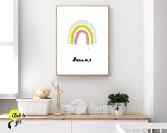 Rainbow nursery and nursery ideas from Sunny and Pretty. Baby girl nursery wall art full of rainbows, hearts, stars, and cuteness. Nursery art and nursery prints to complete your nursery decor project. Our nursery wall art is made with love and is designed to reflect your nursery wall decor style. 🖤 Get excited about decorating for your little one! #sunnyandpretty Rainbow Nursery Decor, Modern Nursery Decor, Baby Room Decor, Nursery Ideas, Playroom Ideas, Wall Decor, Baby Prints, Nursery Prints, Nursery Wall Art