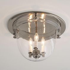 Flush Mount Ceiling Clear Glass Bell Light in polished nickel, dark bronze or pewter if we stay very traditional for lights