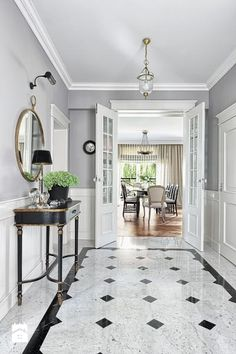 welcome at black and white Floor Design, House Design, Build My Own House, Apartment Entrance, Hallway Designs, Staircase Design, Modern Kitchen Design, Classic House, Traditional House