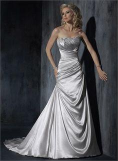 A-line strapless sweep train beading silver wedding dresses BAMW0014