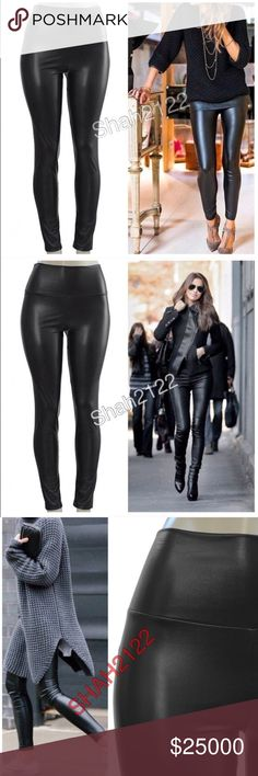 """Black faux leather leggings high waisted New Sexy Nwt Black Sexy Vegan Faux leather leggings. Perfect fit  High waist Medium weight Lightly soft Fleece-lined These are Very Stretchy Fabric Content : 65% Polyester + 35% Cotton Measurements laying flat Unstretched to stretched (Inseam = 27-28"""") (Total Length= 38-39"""") (Front Rise = 12"""") (Back Rise =14"""")  (Small Waist =11-13"""") (Medium Waist =12-14"""") (LargeWaist =13-15"""") (XL Waist =14- 16 """" ) Price is firm unless bundled Boutique Pants Leggings"""