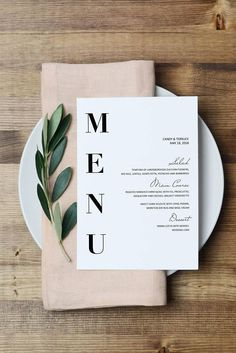 Wedding Menu Template, Modern Menu cards Template, Minimal menu Template, Wedding Menu printable, Simple Menu printable, Party Menu, #wedding #weddinginvitations #invites #calligraphy #weddingcalligraphy #stationery #brides #engaged #bontemps