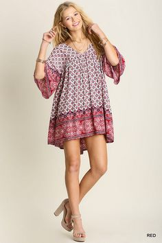This dress is the perfect combination of southern and boho! It's kind of transfixing! We can't seem to look away from it's beauty!  60% cotton 40% polyester  Hand Wash Cold Wash Imported   Material has minimal amount of stretch. Sizes fit: Small- 0-4; Medium- 6; Large- 8-10