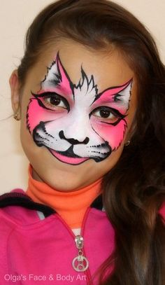 """Meow!"" Cute pink kitty face on child !  (Parties..Halloween..)"