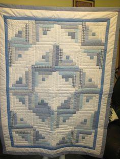 "Blue Handmade Patchwork Log Cabin Baby Quilt 40""X55"" | eBay"