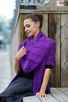 Ravelry: Regal Purple Jacket pattern by Linda Marveng This vibrant rich purple is regal to me. I choose a lace pattern called Flower Wave, which is half lace and half garter stitch, hence easy to memorize. The Regal Purple Jacket has an A-line shape with added garter stitches in the side for decreasing, short sleeves and a V-neck with a garter stitch then stocking stitch band.