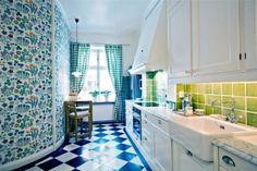 room of the day wallpaper island fresh blue white kitchen