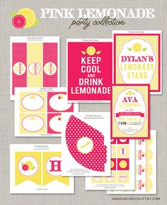 Printable Pink Lemonade Birthday Collection  DIY by announcingyou, $40.00