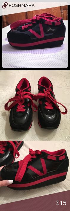 Old School Vinyl VOLATILE Sneakers! Size 9 Blast from the past gothic/punk style Volatile pump sneakers! Bought from Hot Topic. The body of the shoe is a fun, shiny vinyl with front and heel. Red laces. Foam pump. Takes you back to mid '00s middle school! ❤ Volatile Shoes Platforms