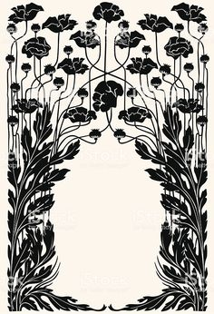 Border of flowers and acanthus Art nouveau garden border royalty-free art nouveau garden border stock vector art & more images of art deco Motifs Art Nouveau, Motif Art Deco, Art Nouveau Pattern, Art Nouveau Design, Pattern Art, Art Deco Print, Flores Art Nouveau, Art Nouveau Flowers, Art Nouveau Tattoo