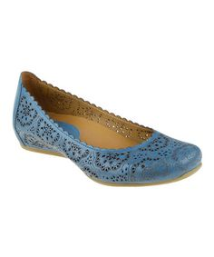 Love these.  There is just something about that color! Another great find on #zulily! Pacific Blue Bindi Leather Flat #zulilyfinds