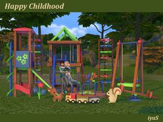 Happy Childhood 11 decorative objects by soloriya at TSR via Sims 4 Updates Sims 4 Tsr, Sims Cc, Mods Sims, Toddler Playground, Playground Set, Outdoor Playground, The Sims 4 Bebes, Sims 4 Controls, Sims 4 Toddler