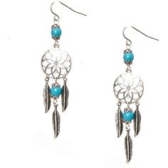 Burnished Silver and Turquoise Bead Dreamcatcher Drop Earrings ($7.99) ❤ liked on Polyvore featuring jewelry, earrings, turquoise stone earrings, silver earrings, drop earrings, turquoise stone jewelry and silver jewellery