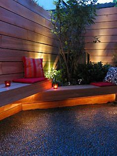 When designing your backyard, don't forget to carefully plan your lighting as well. Get great ideas for your backyard oasis here with our landscape lighting design ideas. Modern Landscaping, Outdoor Landscaping, Front Yard Landscaping, Landscaping Ideas, Pergola Patio, Landscaping Melbourne, Garden Gazebo, Terrace Garden, Diy Patio