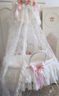 Sweet Moses Basket lots of lace, floral crown, veil