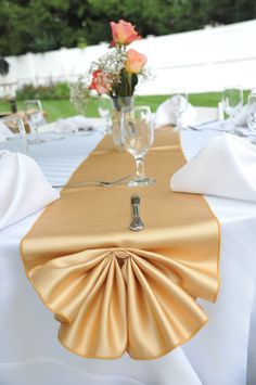 50th Wedding Anniversary Table Decor-Gold Table Runner