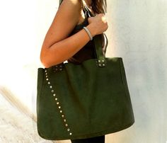 Handmade Green Leather Tote