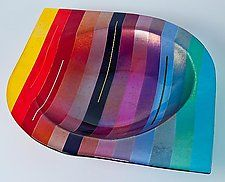 "Rainbow Vessel by Renato Foti (Art Glass Bowl) (3.5"" x 18"")"