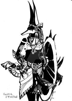 Anubis Black and White My OC in Anubis :)
