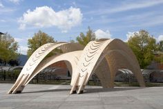 ...a temporary light timber construction has been designed that functions as sun shading for parts of the grand stairs in front of the architecture department of the Swiss Federal Institute of Technology (ETH)..