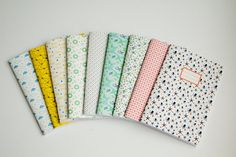 Flower Notebook  - School supplies -  Retro Navy blue and pink pattern and french retro label.