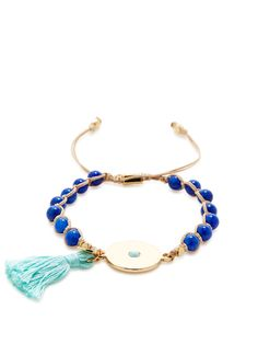 Blue Beaded Cord Bracelet by Ettika Jewelry at Gilt