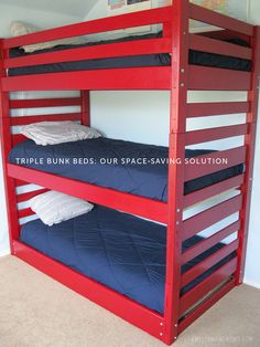 With three boys in one small room, I knew our only option was to go up. Thus, the triple bunk bed.