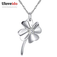 15% Off Flower Crystal Pendant Necklace Brincos Silver Jewelry Women's Necklaces & Pendants Colar Bijoux Femme Uloveido N017 #Affiliate