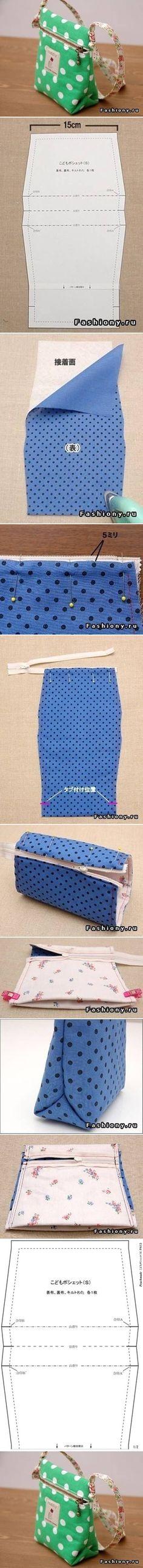 Bolsa pequena com ziper - pap ............DIY Small Sew Handbag