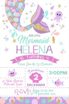 Hottest Pictures Birthday Invitations mermaid Strategies Are you aware that you can find over 31 mil a few moments within one full year? Mermaid Theme Birthday, Little Mermaid Birthday, Little Mermaid Parties, Mermaid Party Invitations, Birthday Party Invitations, Girl Birthday Decorations, 4th Birthday Parties, 5th Birthday, Birthday Ideas