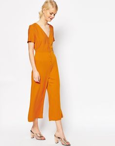 Image 1 of ASOS Button Through Jumpsuit with Wide Leg