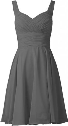 ANTS Women's V-neck Chiffon Bridesmaid Dresses Short Prom Gown Size 10 UK Gray