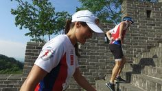 Pippa competing in the Great Wall Marathon.