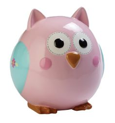 What an adorable way to teach your little girl about saving her pennies!  Cute and bright eyed ceramic owl will be a great addition to her bedroom.  The bubble gum pink body of this creature feature:measures 6 1/8 inches wide and stands 6 3/8� tall and features an extra wide coin slot