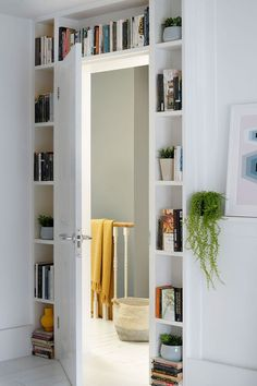Book storage ideas – create a mini library at home with these display and shelving solutions Room Divider Shelves, Laundry Room Shelves, Living Room Shelves, Shelves In Bedroom, Small Laundry Rooms, Small Rooms, Small Apartments, Small Living Room Storage, Book Storage Small Space