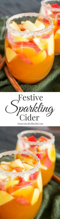 Festive Sparkling Cider is filled with the crisp flavors of fall & sparkling chill of winter making it the perfect non-alcoholic beverage for the holidays! (cocktail recipes non alcoholic) Christmas Drinks, Holiday Drinks, Party Drinks, Holiday Punch, Festive Cocktails, Non Alcoholic Drinks, Beverages, Liquor Drinks, Drinks Alcohol