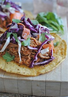 BBQ Pulled Chicken Tostadas with Cole Slaw - Bev Cooks