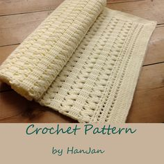 SALE -Instant Download PDF Crochet Pattern: Gentle Cream Zigzag Baby Blanket, easy US instructions with HanJan crochet tutorial  $$