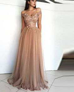 Nude prom dresses - Fancy light brown off the shoulder tulle long prom dress – Nude prom dresses Nude Prom Dresses, Pagent Dresses, Pretty Prom Dresses, Gala Dresses, Strapless Dress Formal, Casual Dresses, Sexy Dresses, Wedding Dresses, Pink Dresses
