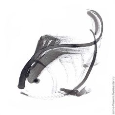 """Купить """"Рыбка"""" Графика - чёрно-белый, китайский стиль, китайская живопись, тушь, графика"""